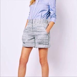 ADAM LIPPES High Rise Blue & Silver Tweed Shorts
